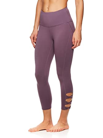 09b8eef469 Gaiam Women's High Rise Waist Yoga Pants - Performance Spandex Compression  Leggings w/Ankle Cutouts