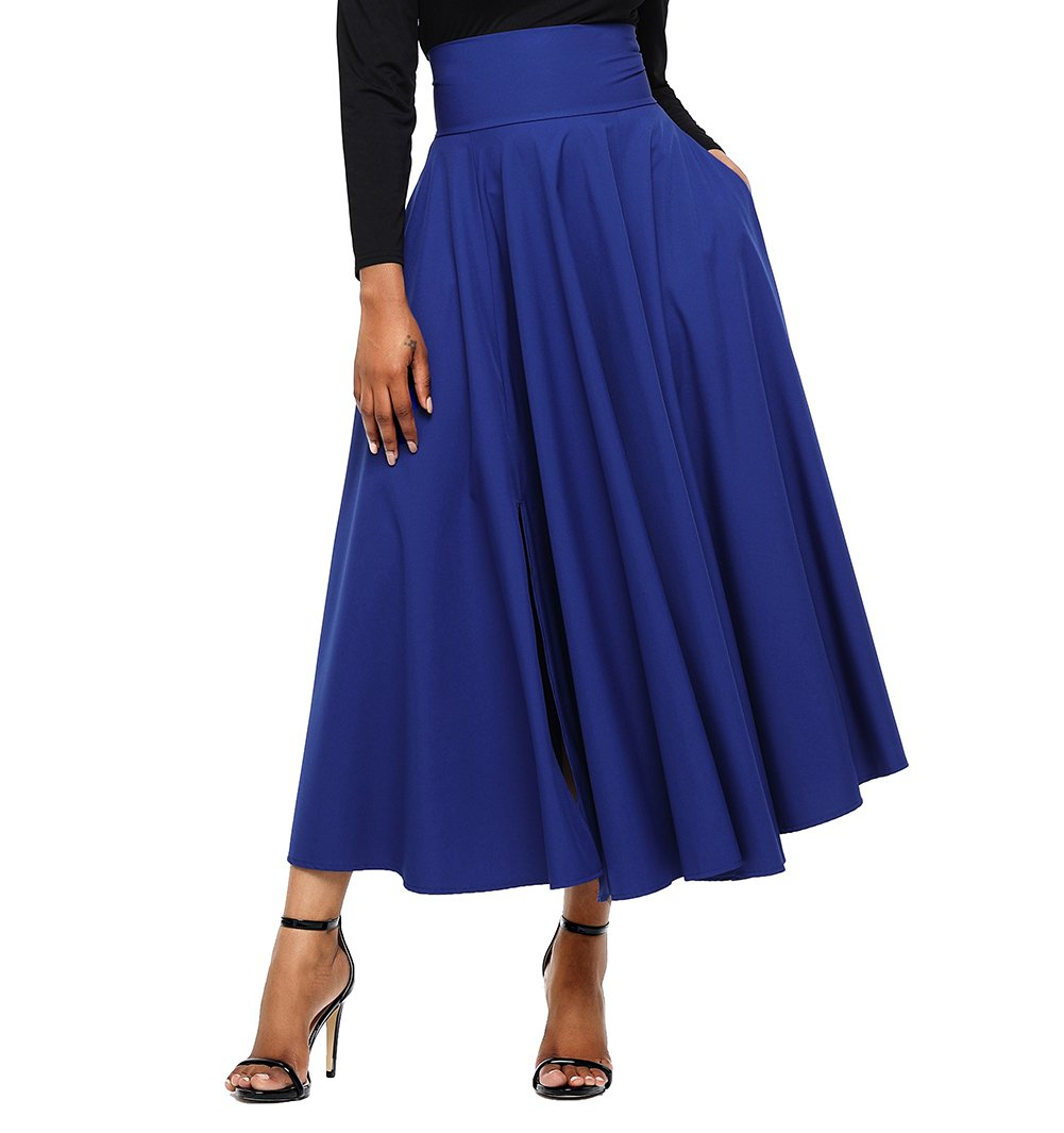 FIYOTE Women High Waisted A Line Street Skirt Skater Pleated Full Midi Skirt Large Size Blue