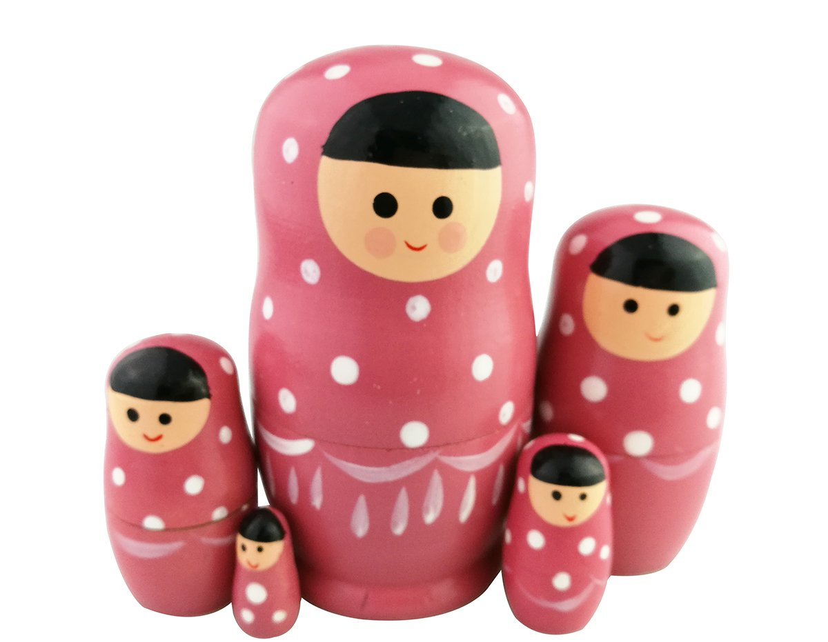Set of 5 Adorable Pink Cartoon Girl White Dotted Wooden Nesting Dolls Matryoshka Russian Doll Popular Handmade Stacking Toys Kids Gifts Christmas New Year Home Decoration Perfect Mother's Day Gift