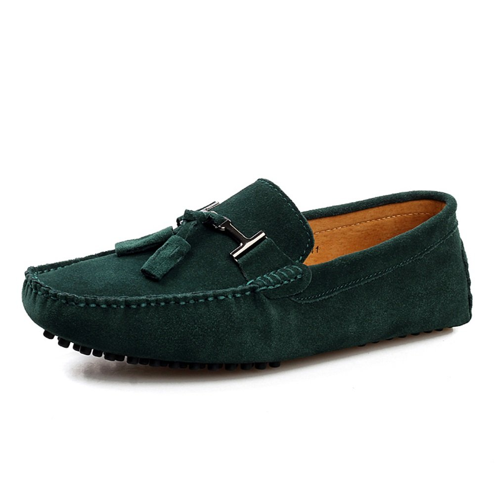 HUAN Mocasín de Ante de Cuero Para Hombre Clásico Slip Ons Zapatos de Barco Ocasionales Zapatos de Conducción Azul Oscuro, Dorado, Gris, Verde Oscuro, Café 45 EU|B