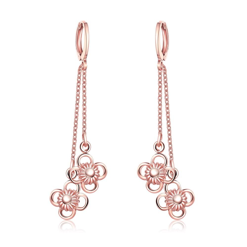 Fashion Dangle Earrings Flower Cubic Zirconia Earrings Charm Girl Champagne Gold Plated Banquet