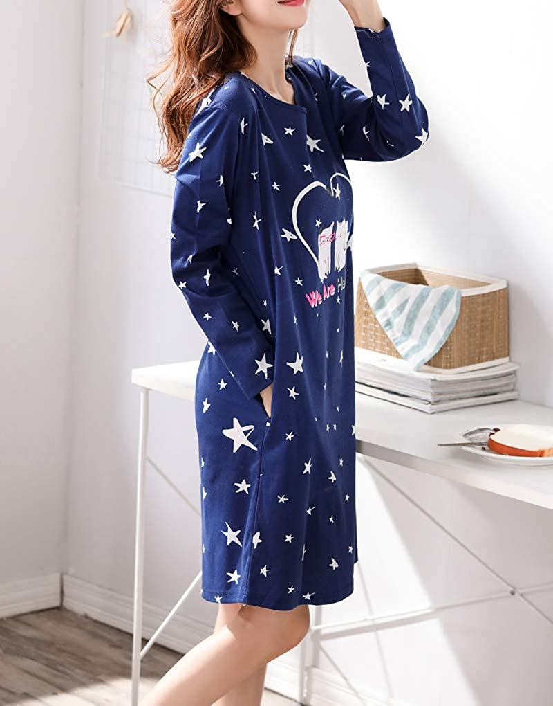 Vopmocld Big Gilrs Lovely Cats Patterns Nightgown Heart Shapes Star Print Nightdress