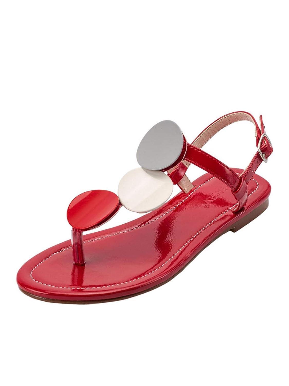 Gules KOKQSX-Hauts Talons Plats Orteils Boucles Sandales à Fond Plat à l'aise Les Chaussures Les Chaussures de Plage. Thirty-eight