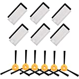 BBT BAMBOOST Accessories Replacement Parts Fit for EcoVacs Deebot 661,Deebot 500, Deebot 600, Deebot 601 Robotic Vacuums - 6 Filters & 6 Side Brushes (Not fit for OZMO 601)
