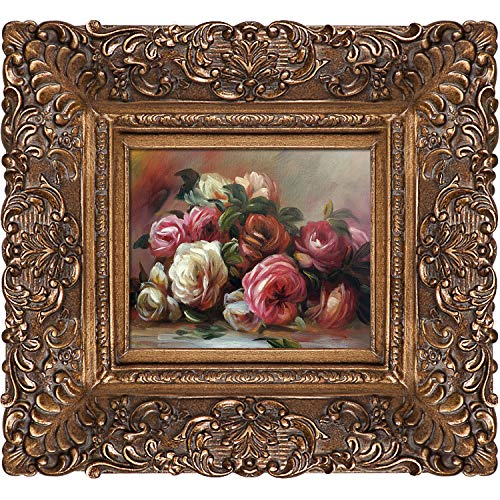 La Pastiche overstockArt Discarded Roses Oil Painting with Burgeon Gold Frame by Renoir, Organic Pattern Facade with Gold Finish