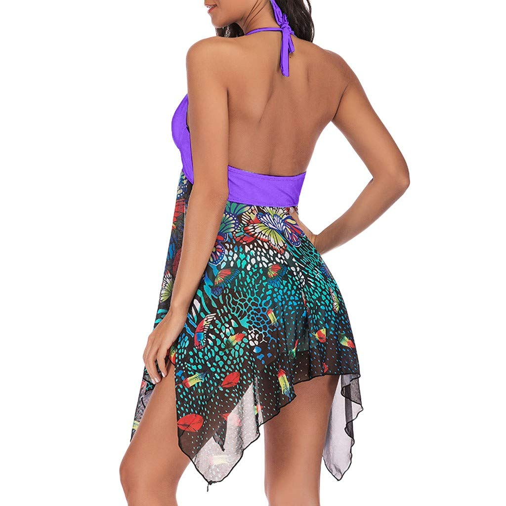 Sannysis Womens Exotic Swimwear Women Tankini Floral Print Swimwear Two Piece Print Bathing Asymmetric Swimdress