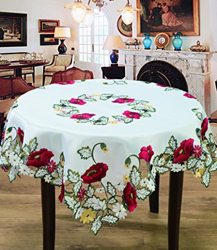 Editex Home Curtain Holiday Themed Tablecloth, 35 by 35-Inch, Kalanit