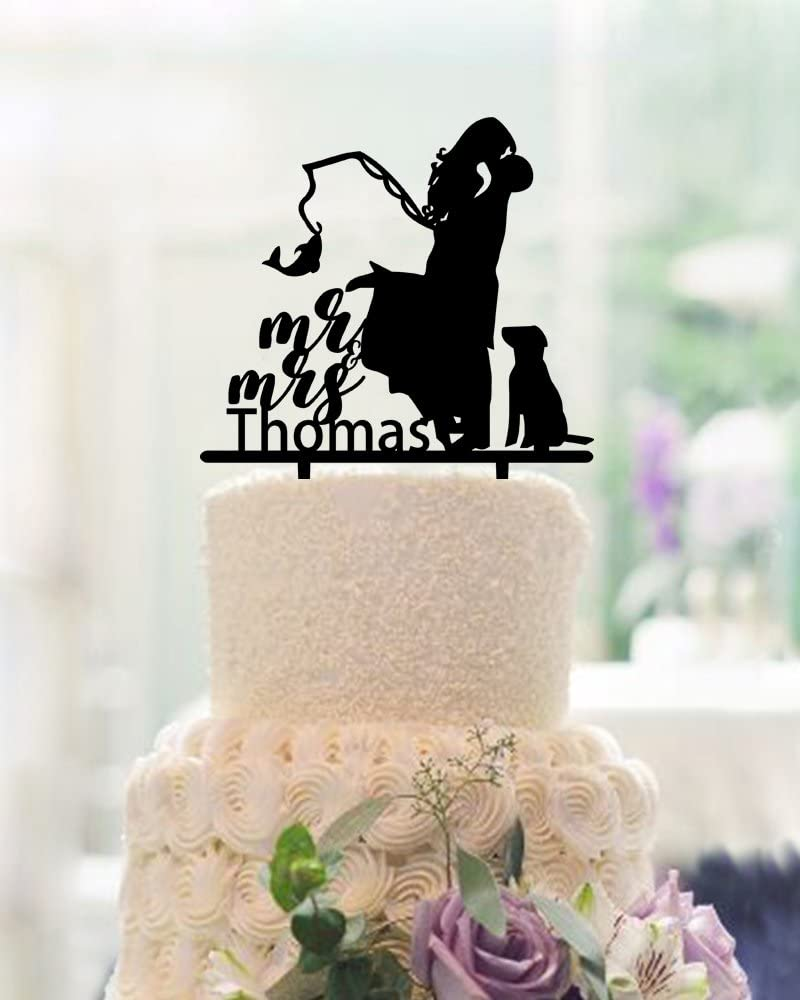 Amazon Com Buythrow Fishing Wedding Cake Toppers Bride And Groom With Dog Mr And Mrs Personalized Last Name With Dog Funny Wedding Gifts Acrylic Black Home Kitchen