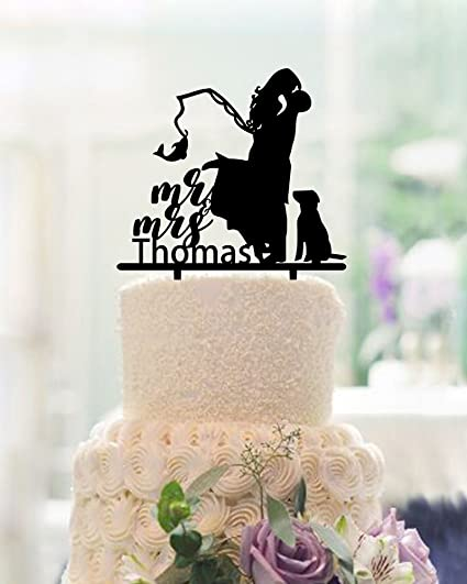 Fishing Wedding Cake Toppers Bride And Groom With Dog Mr And Mrs Personalized Last Name With Dog Funny Wedding Gifts Acrylic Black