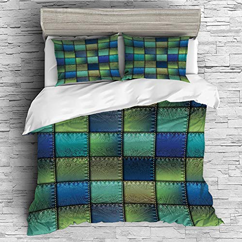 iPrint Cotton Duvet Cover Set 4 Pcs, Simple Solid Design, Super Soft and Easy Care(Singe Size) Fabric,Modern Geometric Bohemian Paisley Details in Square Shaped Backdrop Pieces Artwork,Blue Green