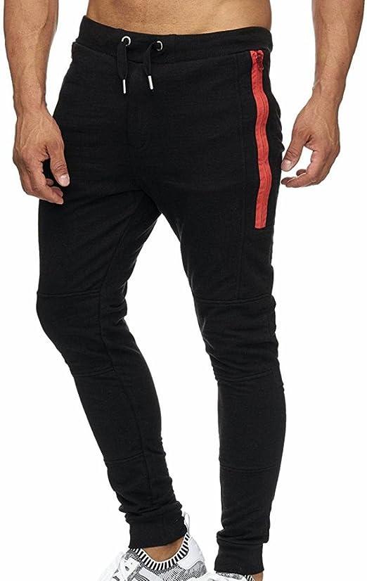 UUYUK Men Elastic Waist Casual Stripe Print Sport Harem Print Pants Trousers