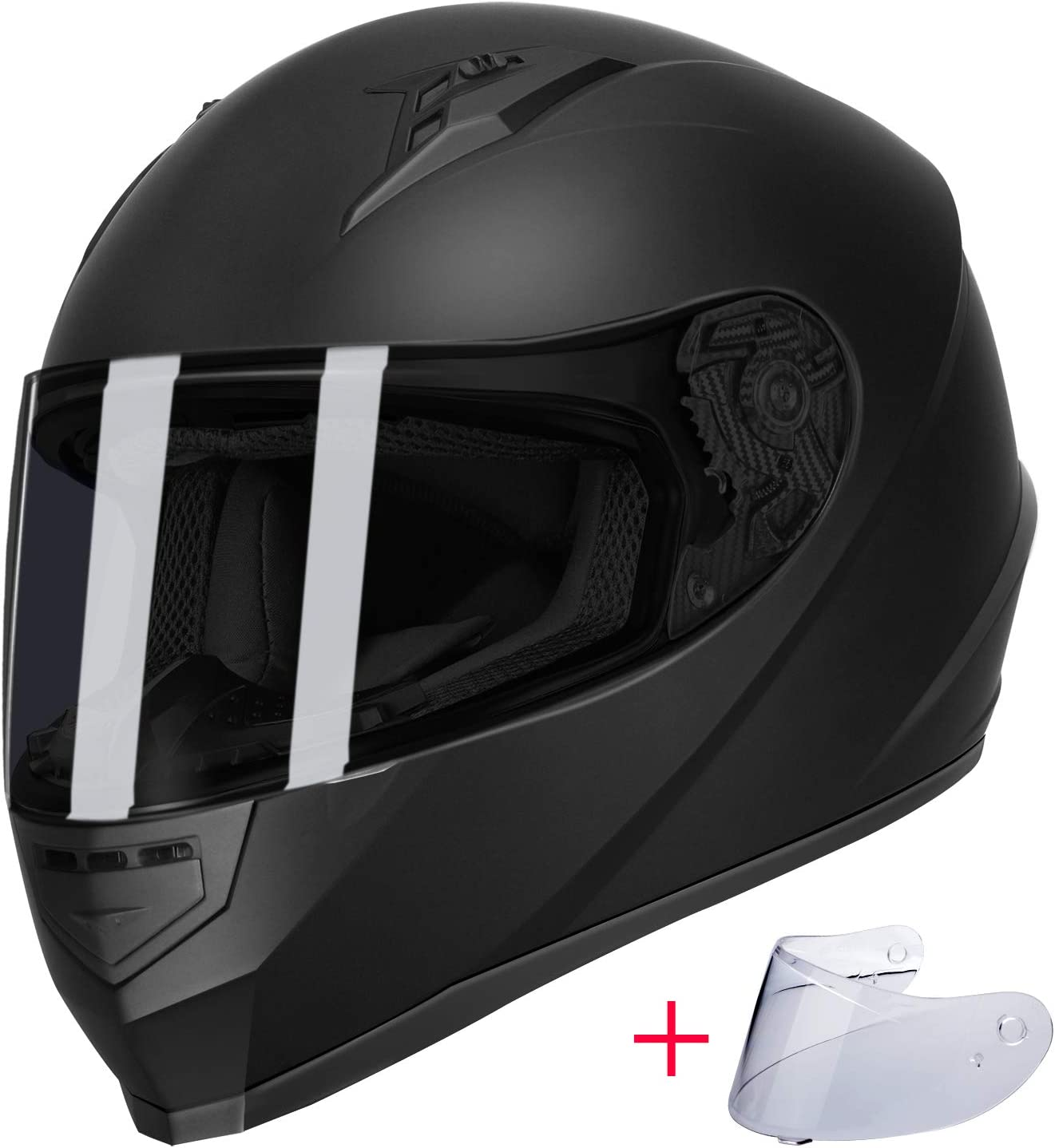 GLX Unisex-Adult GX11 Compact Lightweight Full Face Motorcycle Street Bike Helmet with Extra Tinted Visor DOT Approved (Matte Black, Large)