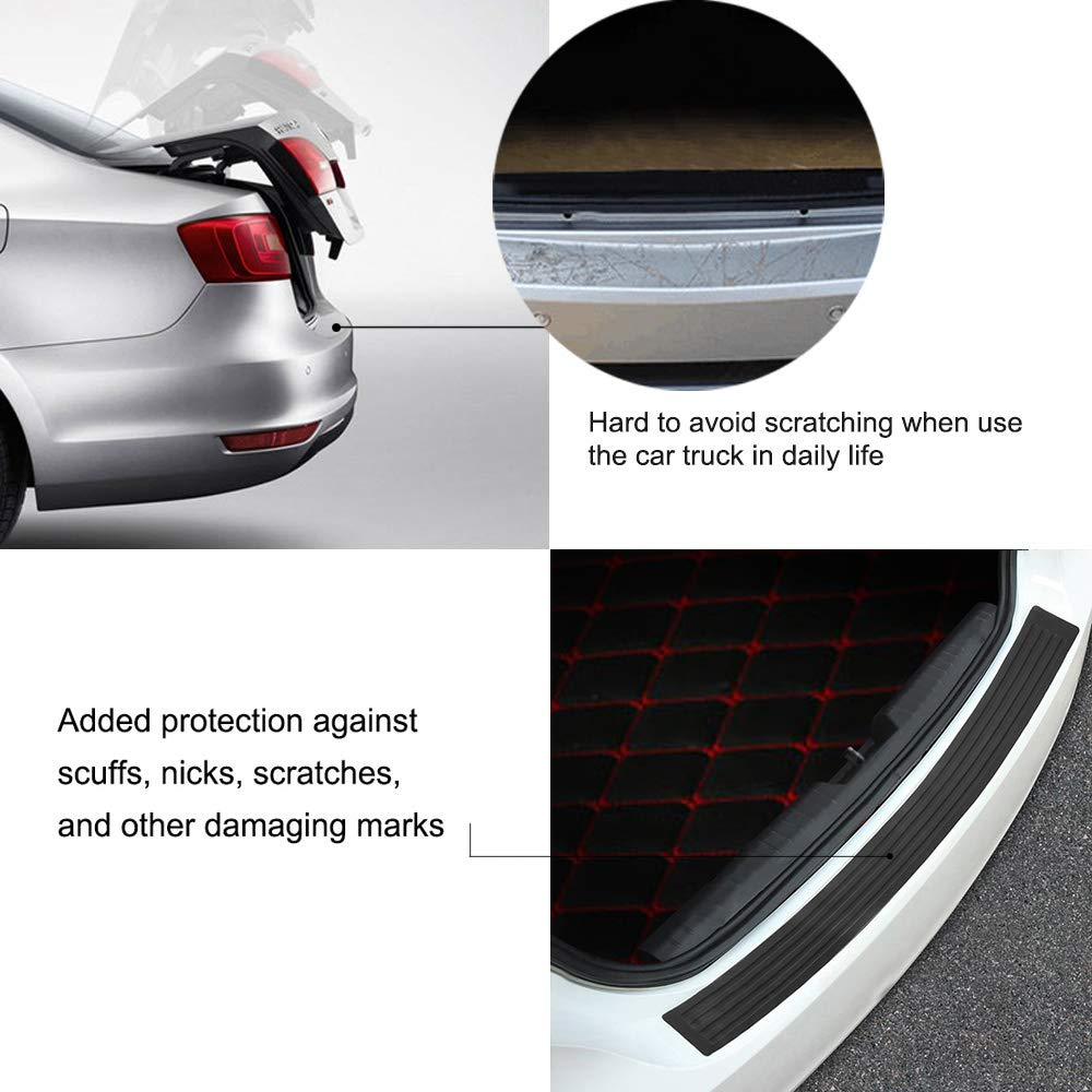 Powstro 4 Pcs Car Door Sill Protection Films Universal Anti Scratch /& Abrasion Carbon Fibre 3D Decal with Scraper Black