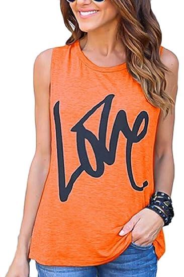 Womens Summer Love Letters Print Sleeveless Tank Tops Vest Orange 3XL at  Amazon Women s Clothing store