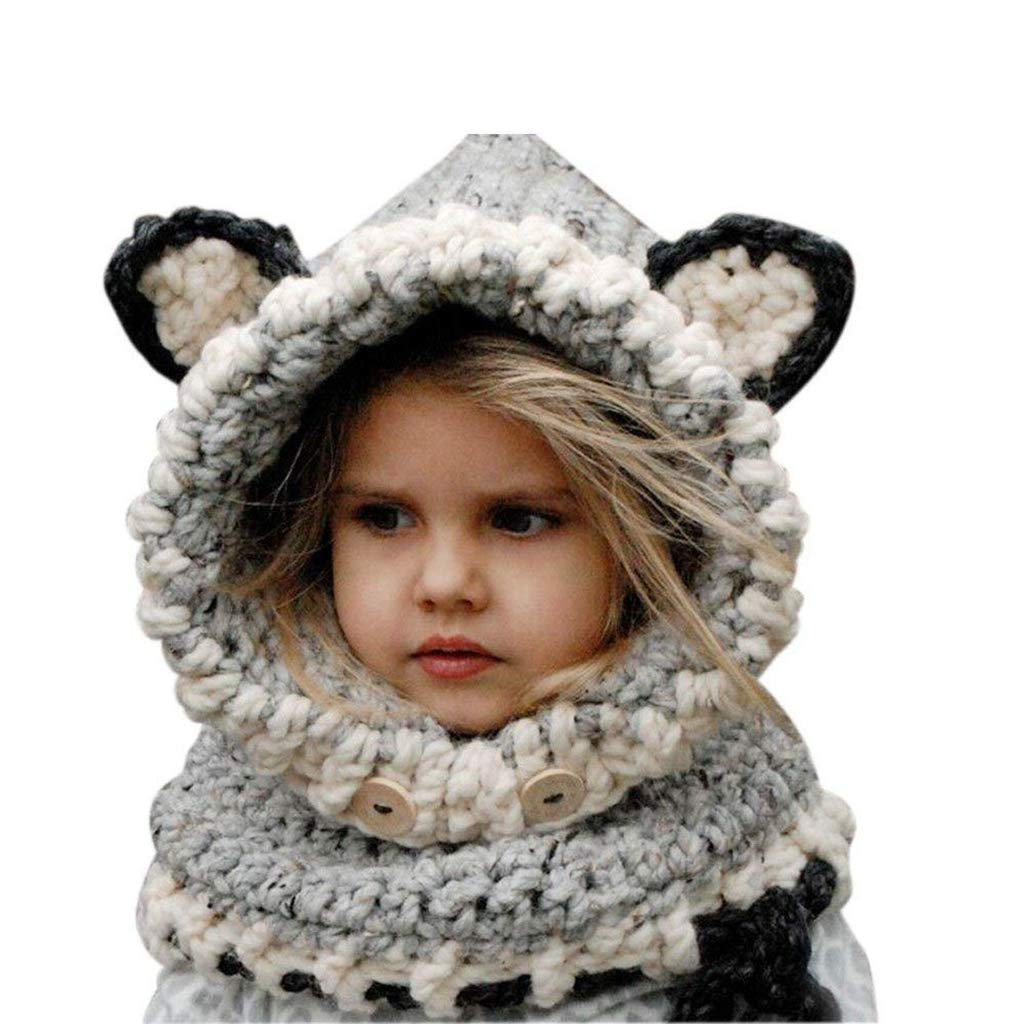 Azornic Baby Girls Boys Winter Hat Scarf Earflap Hood Scarves Caps for 2-8 Years Kids