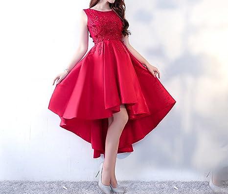 HDJJKSH Abito da cerimonia nuziale rosso vestito da cena da sposa corto  corto prima abito da 46bbe0de62f