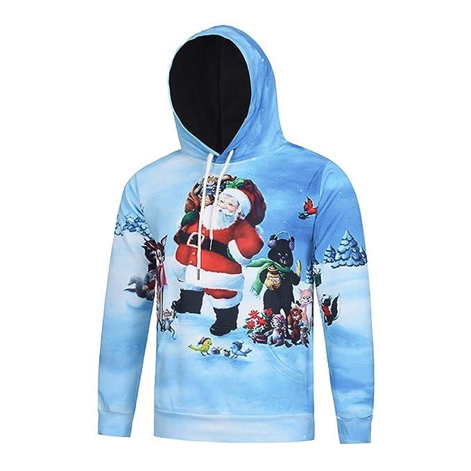 bd1dbd73bbdc5 AMUSTER  Homme Slim Fit Sweat à Capuche Sport de Sweatshirt de Noël, Homme  Pull à