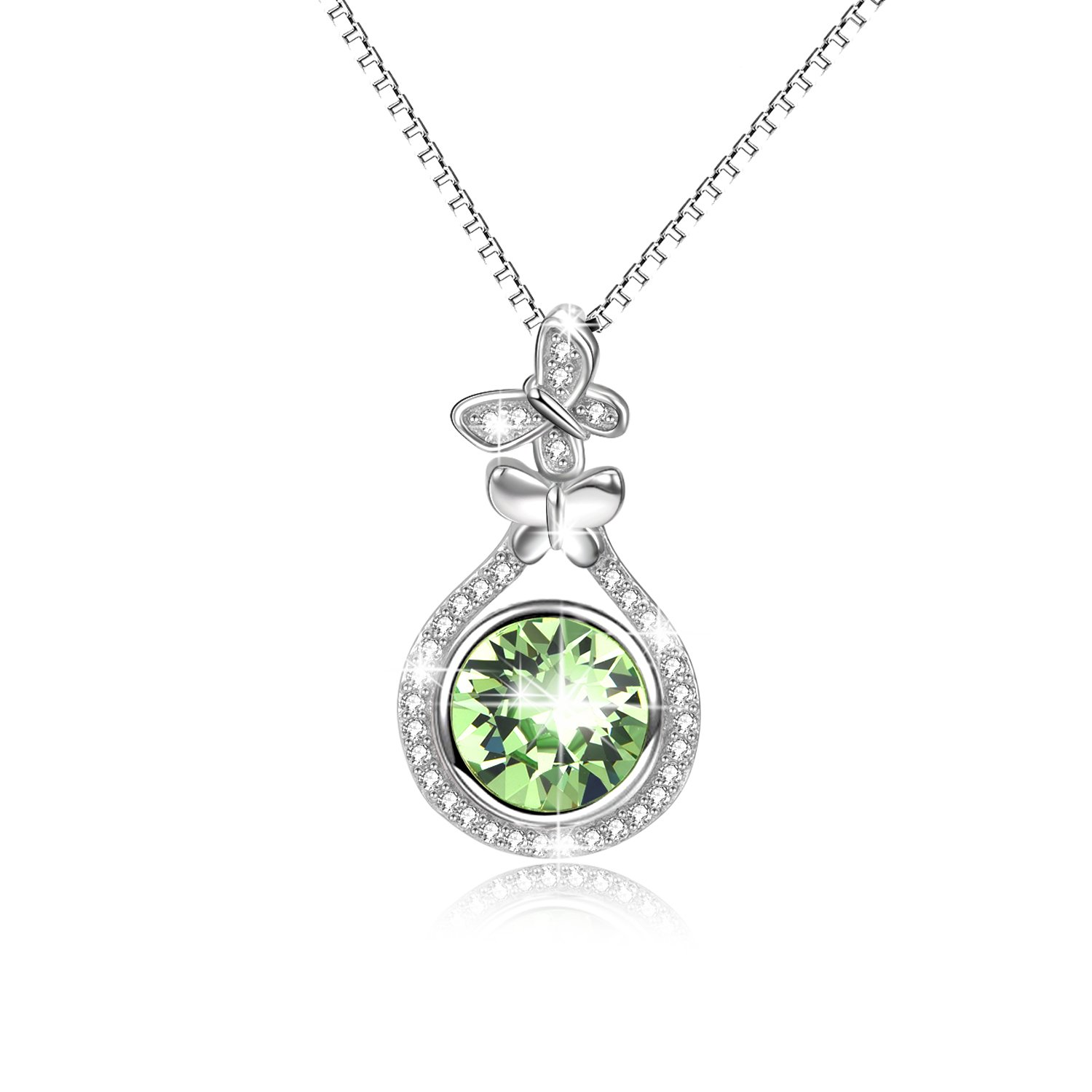 AOBOCO Sterling Silver Teardrop Necklace Butterfly Pendant Necklace with Round Green Swarovski Crystals,Gift for Women Girls