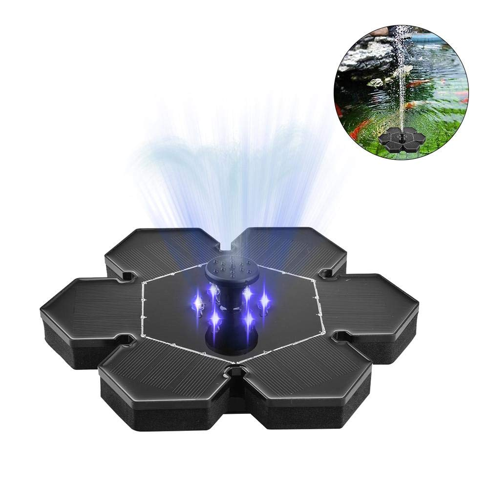 finessci Solar Fountain, 2.4W Floating Fountain,with 6 LED Lights & 4 Different Nozzles Great for Bird Bath Garden Deck Pond Sunroom( Black)