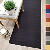 #4: Custom Size BLACK Solid Plain Rubber Backed Non-Slip Hallway Stair Runner Rug Carpet 40-inch Wide Choose Your Length 40in X 60ft
