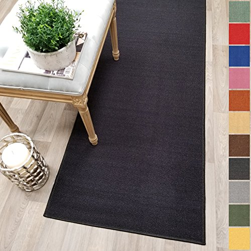Custom Size Black Solid Plain Rubber Backed Non-Slip Hallway Stair Runner Rug Carpet 22 inch Wide Choose Your Length 22in X 10ft ()