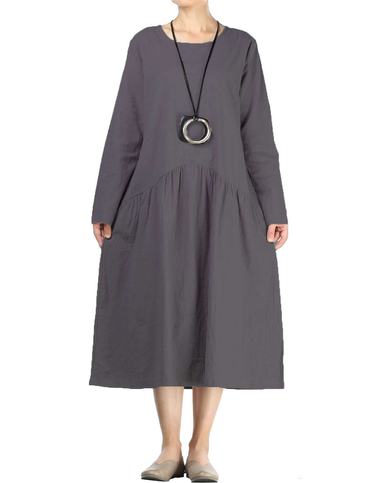 4fa3ce41d2 Mordenmiss Women s Pleated Cotton Linen Long Sleeve Dresses with Pockets  (2XL Dark Gray)