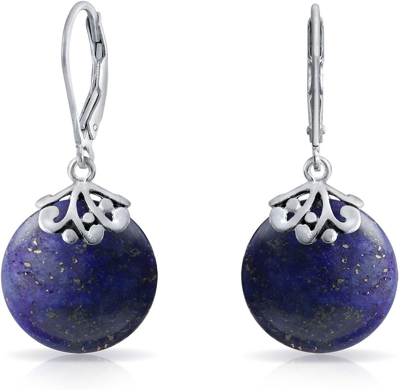 Estilo Bali Piedras Preciosa Disco Redondo Gotas Filigrana Colgante Pendiente De Plata Esterlina 925 Mujer Más Colores
