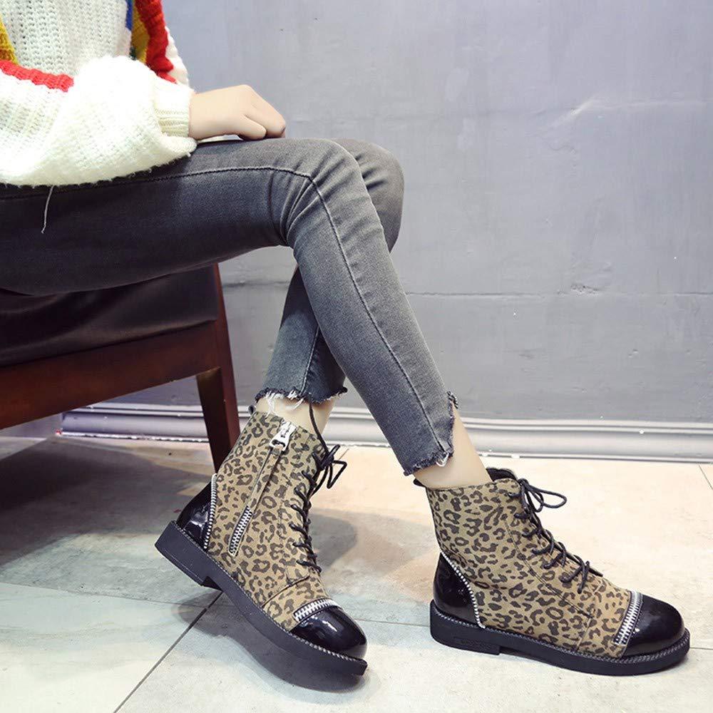 ZARLLE_Botas Zapatos Mujer, Mujer Vintage Botas de Moda Estilo Leopardo de tacón de botín de Gamuza Plana Botines de Cremallera Martin Boots Zapato de Mujer ...