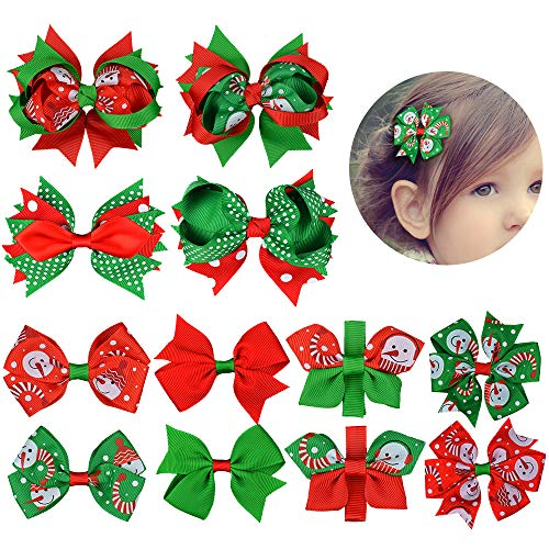 Christmas Hair Bows For Toddlers.12piece Christmas Hair Bows Clips For Girls Christmas Gift