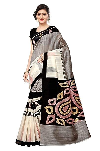 67b9270881 Mega Leaf Print with Stripes Bhagalpuri Silk Saree | Black & Grey Color  Silk Saree with BLOUSE | Designer Sarees from NK Textiles: Amazon.in:  Clothing & ...