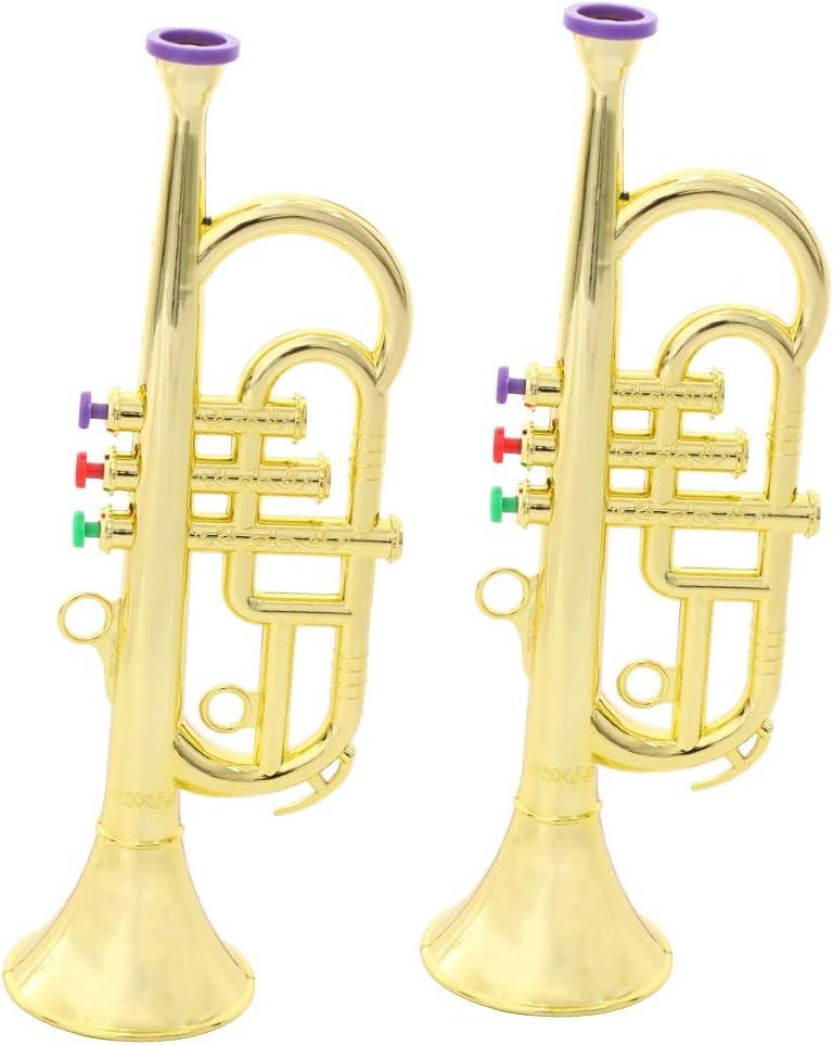 Bnineteenteam Juguete de Trompeta para ni/ños Instrumentos de Trompeta Recubiertos de Oro Juguete de m/úsica Preescolar para ni/ños