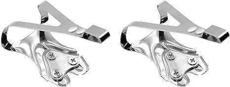 2X Calapies de Acero Cromado Plata Compatible con Pedal ...