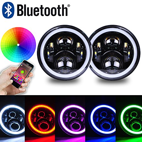 Omotor 7 Inch LED Headlight Assemblies 40W Cree with Multicolor RGB Halo Angle Eye APP Bluetooth Remote For Jeep Wrangler TJ JK Hummer H1 H2 Headlamp