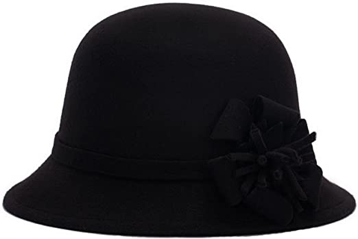 Brcus Women Church Cloche Cap Solid Color Bucket Bowler Hat Winter Warm