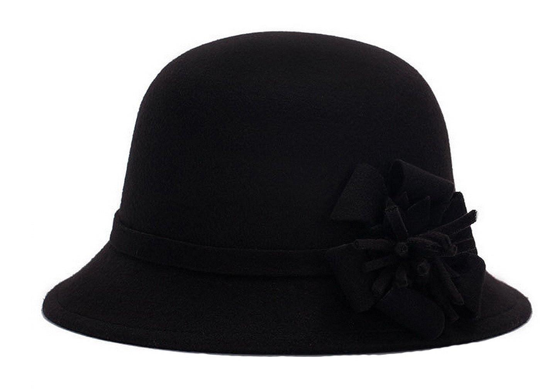 2715c1343b26f0 Women Warm Wool Felt Church Cloche Cap Bucket Hat Bowler Hats with Flower  Band Black at Amazon Women's Clothing store: