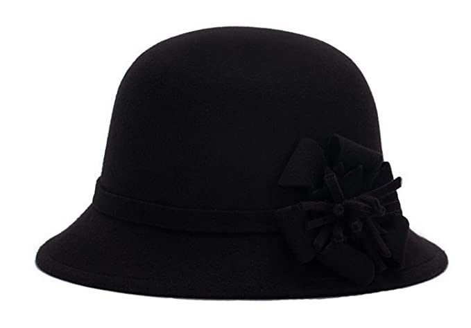 Women Warm Wool Felt Church Cloche Cap Bucket Hat Bowler Hats with Flower  Band Black 689af6fac828