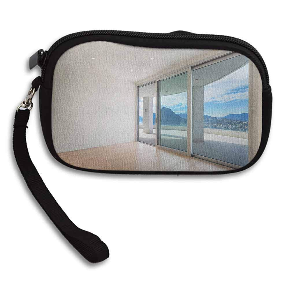 Modern Bank Deposit Bags Penthouse Room with Wide Terrace Sliding Door Parquet Mountains Idyllic Art W 5.9x L 3.7 Cellphone Wallet For Women