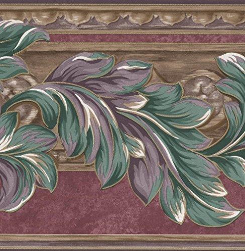 - Plum Purple Green Leaves Floral Wallpaper Border Retro Design, Roll 15' x 7''