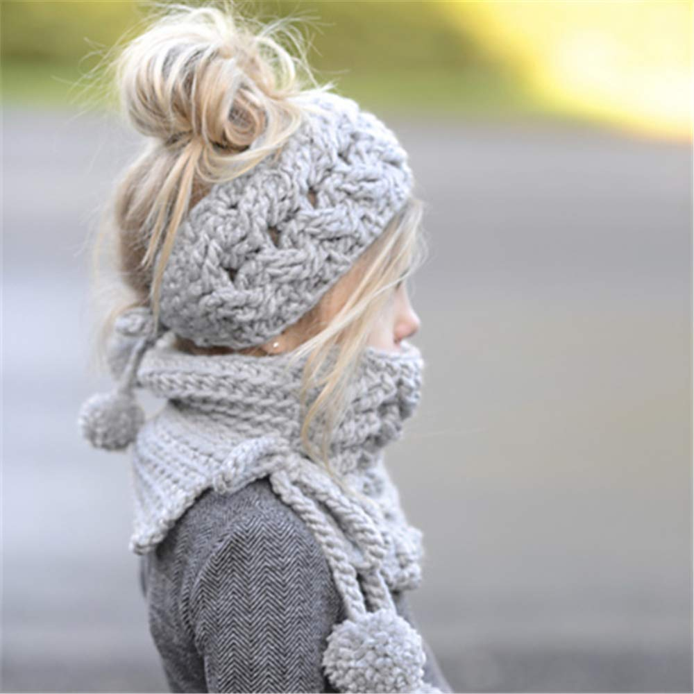 Muyan winter girl/'s knit bandeau hat which has warm wolly feel