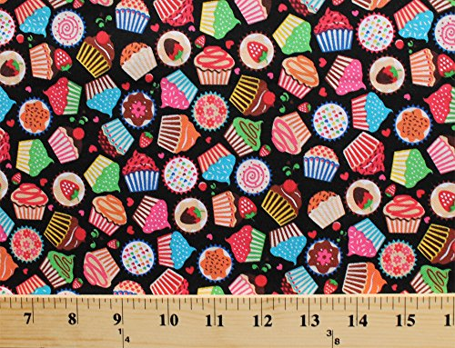 Cotton Cupcakes Cakes Desserts Sweets Confections Colorful Frosting Chocolate Strawberries Cherries Hearts Kitchen Bakers Bakery Food Mini Morsels Black Cotton Fabric Print by the Yard -