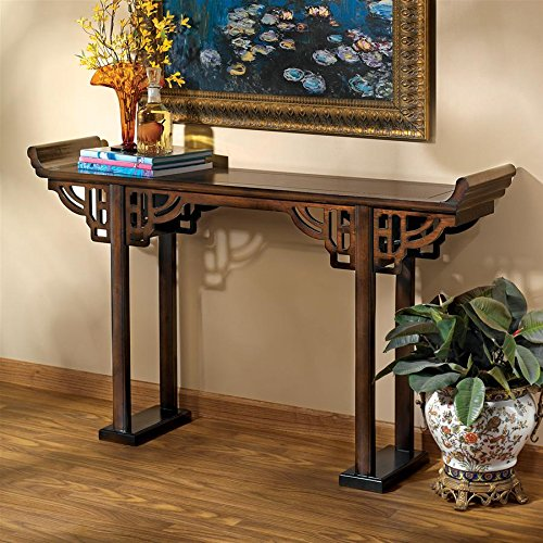 Asian Style Furniture - Design Toscano Forbidden City Asian Decor Console Table, 54 Inch, Hardwood, Walnut