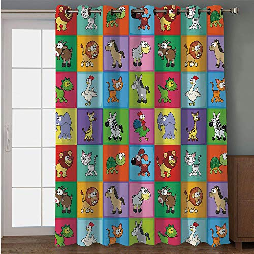 iPrint Blackout Patio Door Curtain,Nursery,Group of Funny Young Animals in Colorful Squares Happy Cartoon Wildlife Collection Decorative,Multicolor,for Sliding & Patio Doors, 102