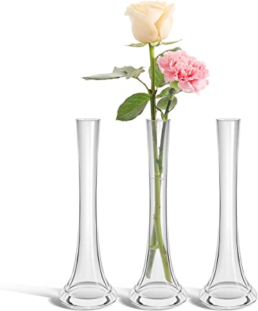 Comsaf Glass Flower Vase Set Of 3 Clear Decorative Bud Vase Modern Tall Posy Bouquet Crystal Centerpiece For Home Wedding Christmas Decor 25cm Height Amazon Co Uk Kitchen Home