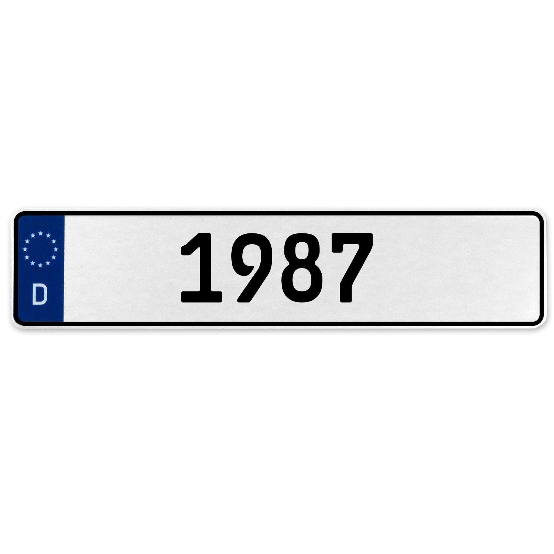 Vintage Parts 553402 1987 Year White Stamped Aluminum Deutschland License Plate