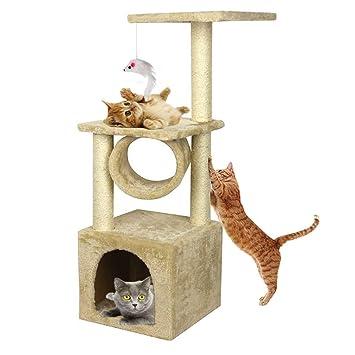 Blackpoolal Árbol rascador para gatos con cuerda y hamaca para arañar el árbol de la cama, escalada, juguete, centro de actividades para mascotas: ...