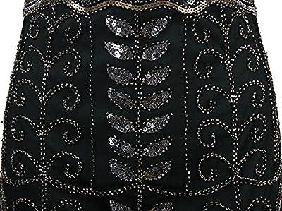 Vijiv 1920s Vintage Sequin Art Deco Embellished Fringe Long Prom Flapper Dress