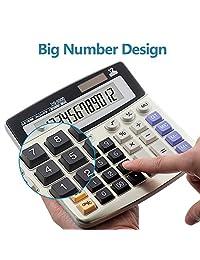 Calculadora, computadora de 12 dígitos calculadora básica, batería Solar Dual Power con visualización LCD grande y botones de gran tamaño calculadora de oficina por ebristar (jp01251 a)