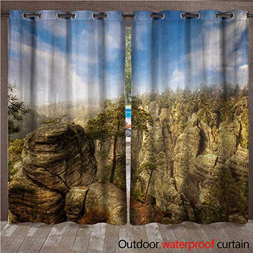 Nature Grommet Top Curtain Wonders of The World National Park Rock Formation Czech ImageW108 x L108 Sky Blue Tan Cream Olive Green