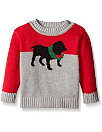 Baby-Boys Wreath Dog Crew Neck Cotton Sweater