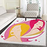 Zodiac Gemini Area Silky Smooth Rugs Two Women Twins Illustration on Pink Western Astrology Concept Feminine Art Floor Mat Pattern 3'x5' Multicolor